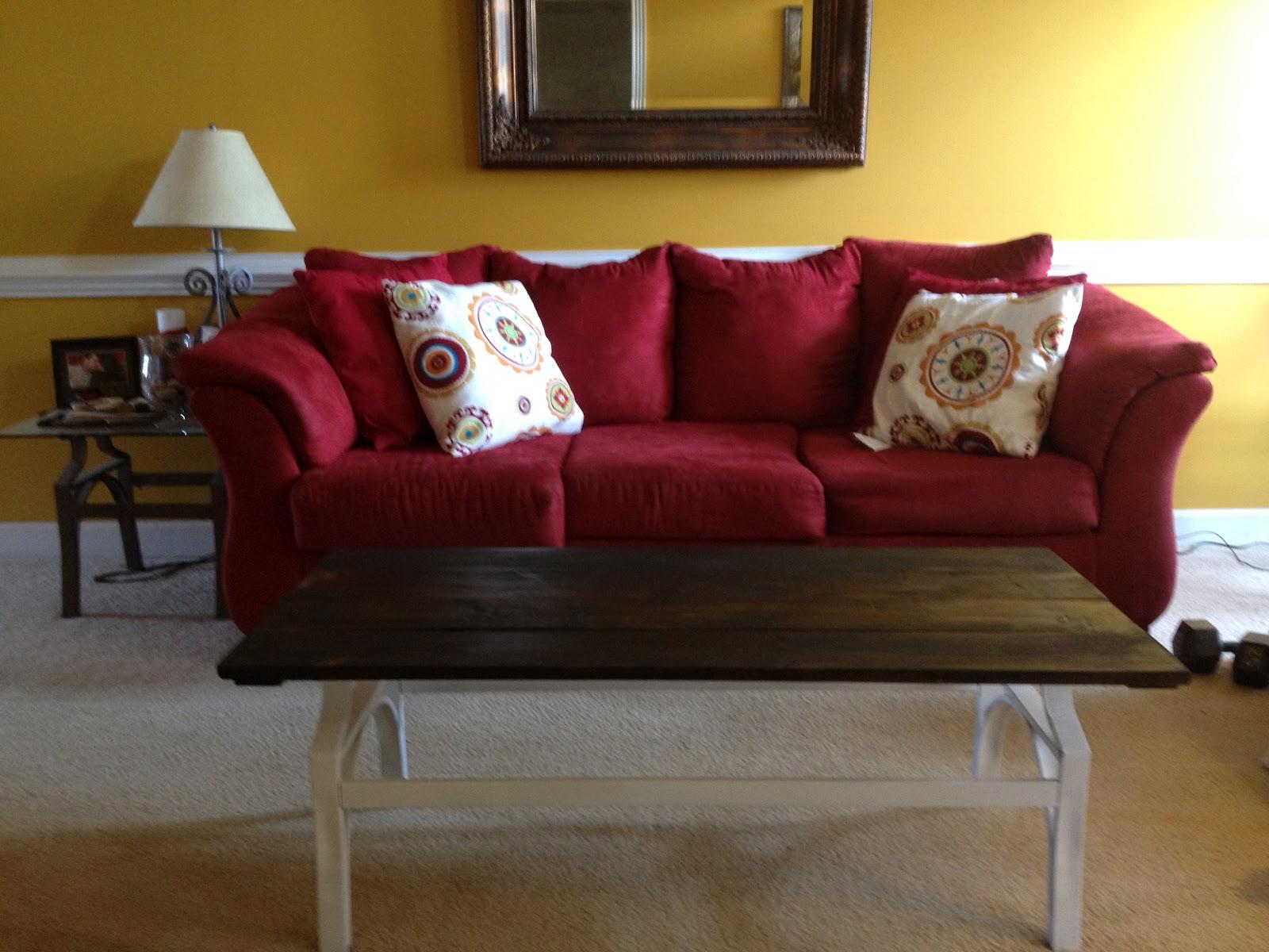 red sofa yellow walls | Brokeasshome.com